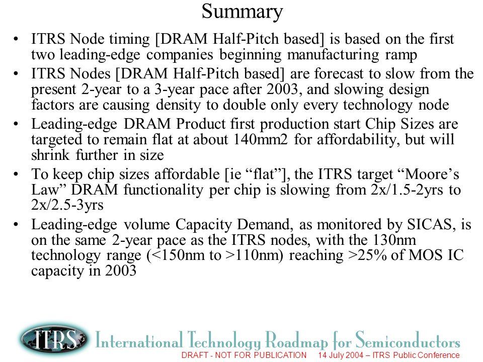 Summary ITRS Node timing [DRAM Half-Pitch based] is based on the first two leading-edge companies beginning manufacturing ramp.